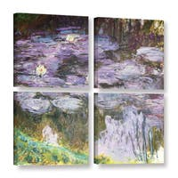 Claude Monet's 'Waterlilies, 1917' Gallery 4 Piece Gallery Wrapped Canvas Square Set