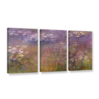Claude Monet's 'Water Lilies (Agapanthus) 1915-26' Gallery 3 Piece Gallery Wrapped Canvas Set