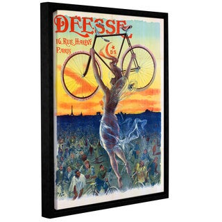 Jean De Paleologue's 'Vintage French Poster Of A Goddess With A Bicycle, c.1898' Gallery Wrapped Floater-framed Canvas