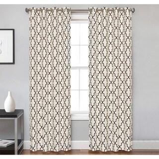 Crawford Ivory/Chocolate Microfiber Grommet Curtain Panel Pair