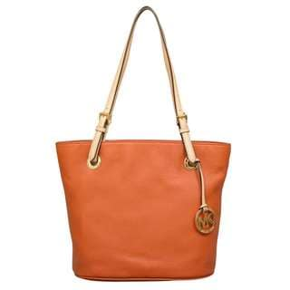 Michael Kors Medium Jet Set Burnt Orange Leather Tote Bag