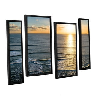 Andrew Lever's 'Sun Shining Ripples' 4 Piece Floater Framed Canvas Staggered Set
