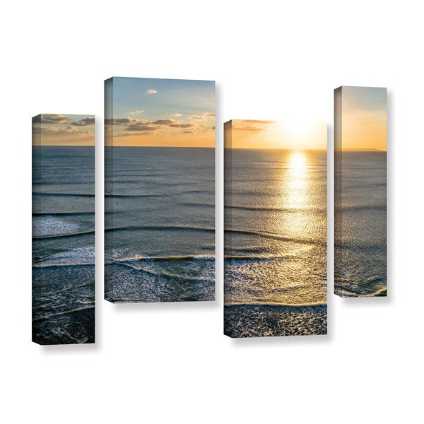 Andrew Lever's 'Sun Shining Ripples' 4 Piece Gallery Wrapped Canvas Staggered Set - Multi