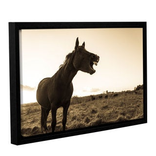 Andrew Lever's 'Laughing Horse ' Gallery Wrapped Floater-framed Canvas