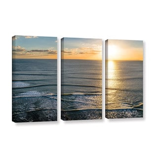Andrew Lever's 'Sun Shining Ripples' 3 Piece Gallery Wrapped Canvas Set
