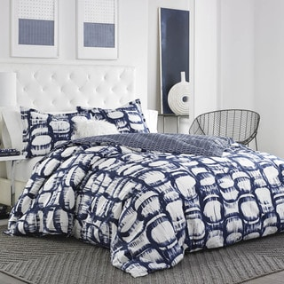 City Scene Liam White and Blue Cotton Duvet Cover Set