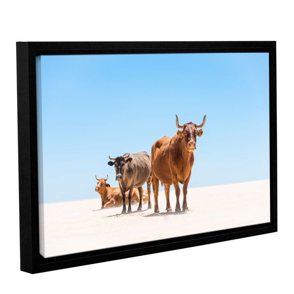 Andrew Lever's 'Bulls in the Desert' Gallery Wrapped Floater-framed Canvas