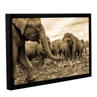 Andrew Lever's 'Playing Elephants' Gallery Wrapped Floater-framed Canvas