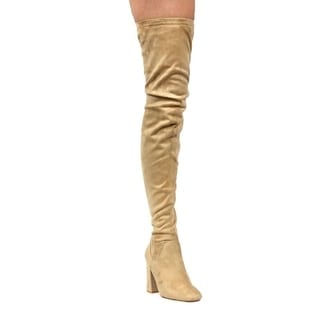 CAPE ROBBIN DD17 Women's Side-zip Block Heel Stretchy Snug Fit Thigh High Boots