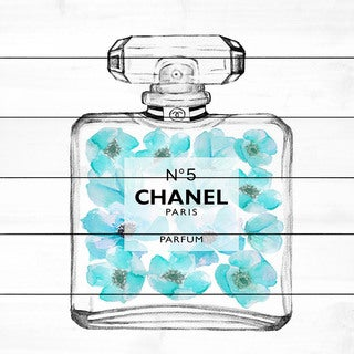 Marmont Hill 'Chanel Aquamarine' Painting Print on White Wood