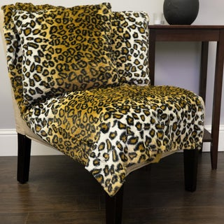 Sweet Home Collection Leopard Print Plush Faux Fur 3-piece Decorative Pillow and Throw Set