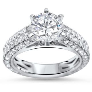 Noori 14k White Gold 2 4/5-carat TGW Round Moissanite Diamond Engagement Ring