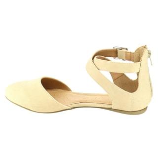 Beston IA94 Women's D'Orsay Nubuck Leather Criss-cross Buckled Ankle Strap Flats
