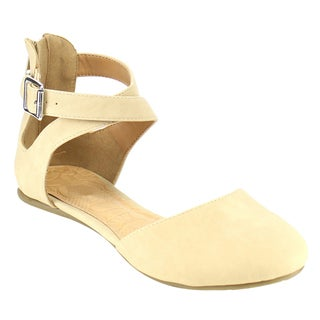 Beston IA94 Women's D'Orsay Nubuck Leather Criss-cross Buckled Ankle Strap Flats