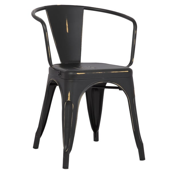 Poly and Bark Trattoria Metal Dining Arm Chair (Set of 4)