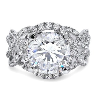 Noori 14k White Gold Moissanite Diamond 3 1/5-carat TGW Halo Engagement Ring