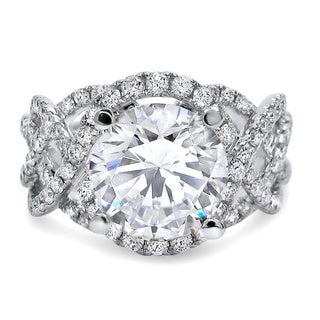 Noori 14k White Gold Moissanite Diamond 3 1/5-carat TGW Halo Engagement Ring (More options available)