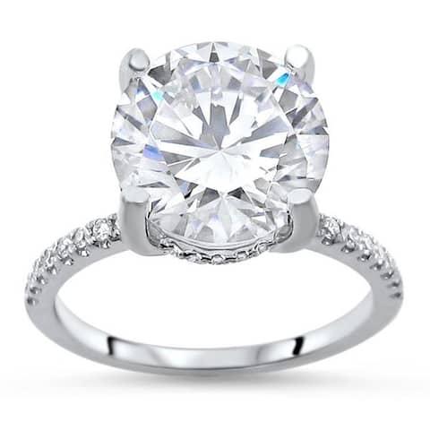 14k White Gold 3 1/5 ct TGW Round Moissanite Diamond Halo Engagement Ring