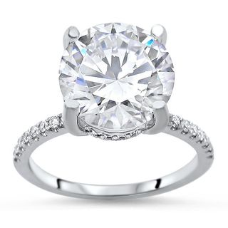 Noori 14k White Gold 3 1/5 ct TGW Round Moissanite Diamond Halo Engagement Ring