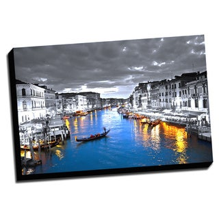 Wide Canal in Venice Color Splash Printed on Framed Canvas