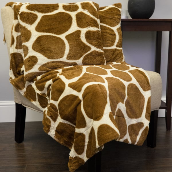 Giraffe Print Plush Faux Fur Decorative Pillow And Throw