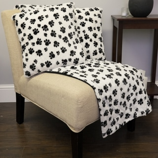 Sweet Home Collection Dalmation Paw Print Plush Faux-fur 3-piece Decorative Pillow Pair and Throw Set