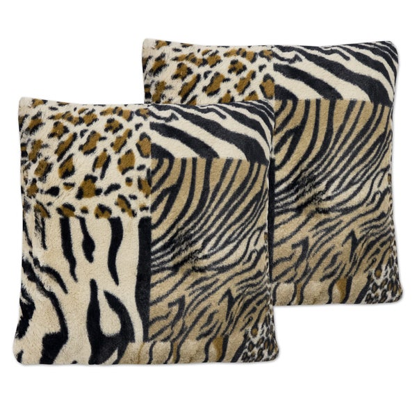d11d36036e8f Shop Multicolor Faux Fur 18-inch x 18-inch Mixed Exotic Animal Print Plush  Accent Pillows (Set of 2) - Free Shipping On Orders Over $45 - Overstock -  ...