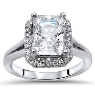 Noori 14-karat White Gold 2/5-carat TGW Radiant Moissanite Diamond Halo Engagement Ring