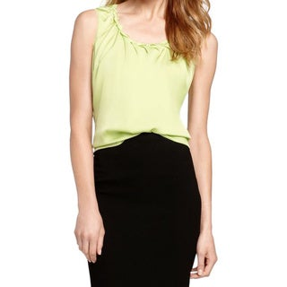 Elie Tahari Women's Gigi Green Elastic/Silk Sleeveless Blouse
