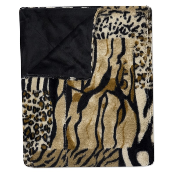 """Sweet Home Collection Mixed Exotic Animal Print Plush Faux Fur Decorative Throw Blanket (50""""x60"""")"""