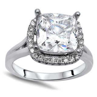 Noori 14k White Gold 2 1/4ct TGW Cushion Moissanite Diamond Halo Engagement Ring