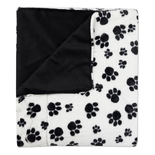 "Sweet Home Collection Dalmation Paw Print Plush Faux Fur Decorative Throw Blanket (50""x60"")"