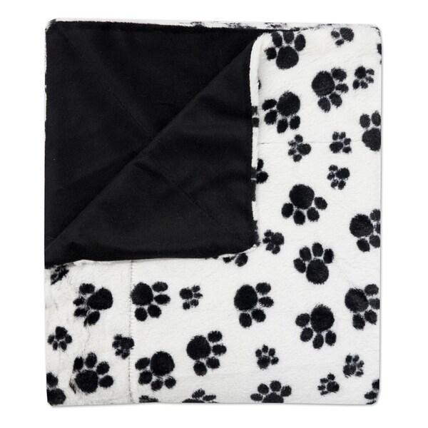 "Sweet Home Collection Dalmation Paw Print Plush Faux Fur Decorative Throw Blanket (50""x60"")"
