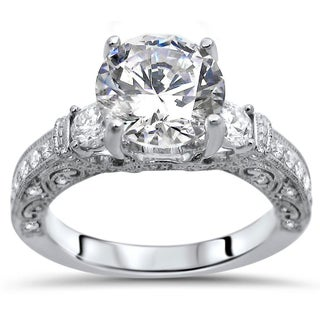 Noori 18k White Gold 2 1/10-carat TGW Round Moissanite Diamond Engagement Ring (More options available)