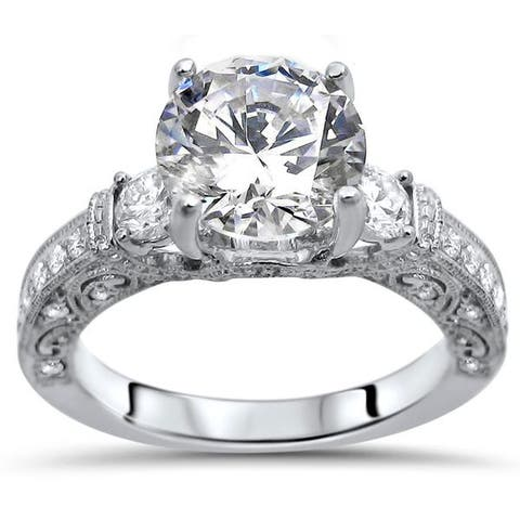 18k White Gold 2 1/10-carat TGW Round Moissanite Diamond Engagement Ring