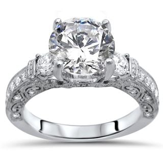 noori 18k white gold 2 110 carat tgw round moissanite diamond engagement ring - Wedding Rings Vintage