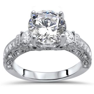 Noori 18k White Gold 2 1/10-carat TGW Round Moissanite Diamond Engagement Ring