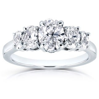 Annello by Kobelli Platinum Certified 1 7/8ct TDW Diamond Five Stone Oval Ring (G, SI1)