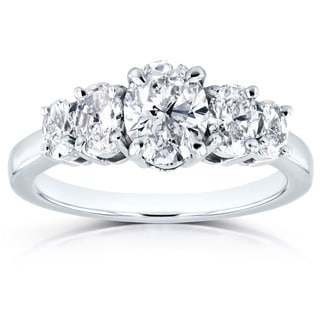 Annello Platinum Certified 1 7/8ct TDW Diamond Five Stone Oval Ring (G, SI1)
