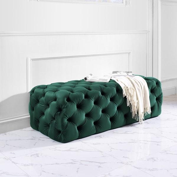 Kaylee Green Velvet Jumbo Ottoman
