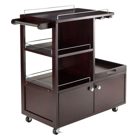 Copper Grove Carrick Wooden Entertainment Storage Cart with Tray
