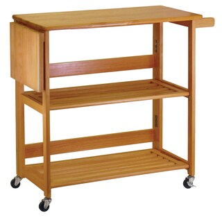 Winsome Wooden Space-saving Foldable Kitchen Cart with Casters