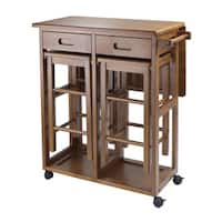 Pine Canopy Zion Space Saving Kitchen Cart with 2 Stools