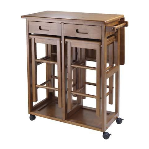 Porch & Den Stoneridge Space Saving Kitchen Cart with 2 Stools
