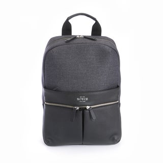 Royce Black Leather 15-inch Charged Up Work Laptop Backpack