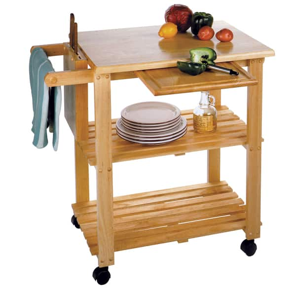 Winsome Wooden Storage Kitchen Utility Cart with Pull-out Cutting Board