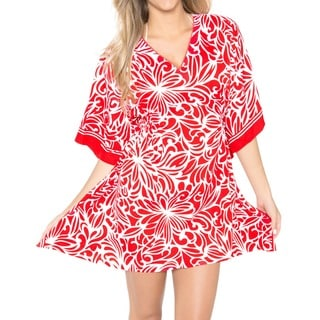 SOFT Women's Red Floral Likre Kaftan Tunic Top Short Sleeve Kimono Dress Bikini Cover-up with Fittin