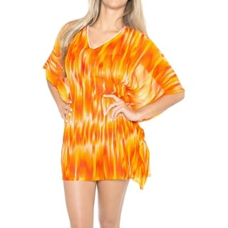 La Leela Sheer LIGHTWEIGHT CHIFFON Bikini Swimsuit Women PLUS cover up Orange