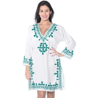 La Leela Embroidered Rayon Swimsuit V Neck Top Bikini Cover up Tunic Kaftan White Green
