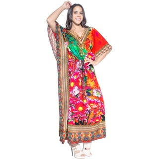 La Leela Smooth Likre Floral Digital Kimono Long Casual Beach Kaftan Maxi Red